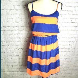 Peaches N Cream Blue and Orange Stripe Dress S